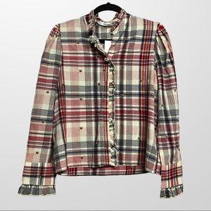ZARA / plaid mock neck blouse M NWT
